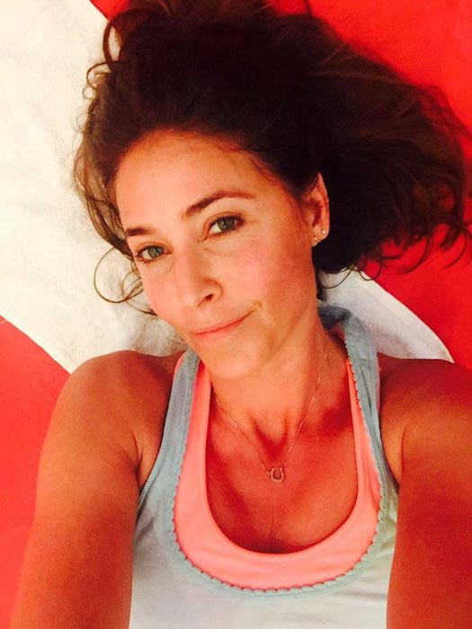 Lisa Snowdon in a sweaty gym selfie at the Akasha Wellbeing gym