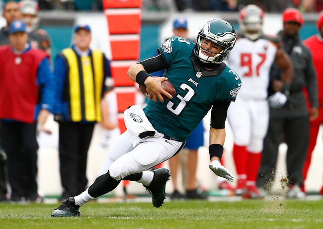 Mark Sanchez in action during a game between Philadelphia Eagles and Tampa Bay Buccaneers on November 22, 2015