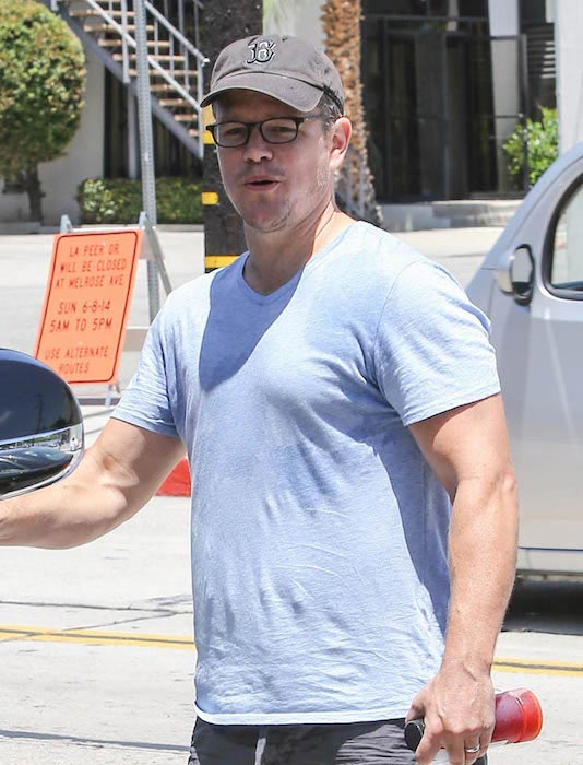 Matt Damon after a gym session