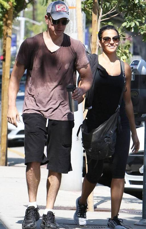 Matt Damon with wife post workout