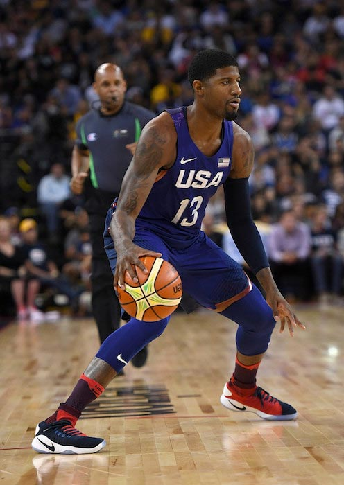 Paul George in action against China's National Team on July 26, 2016 in Oakland, California