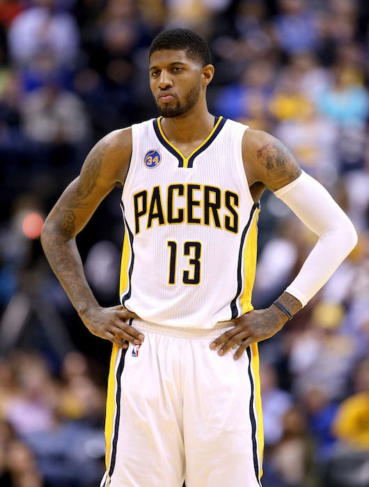 Paul George during a match against Cleveland Cavaliers on April 6, 2016 in Indianapolis