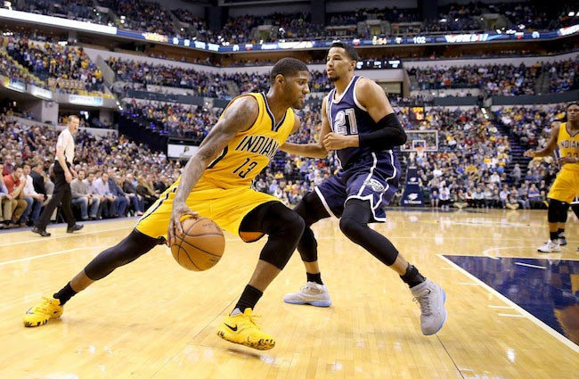 Paul George in action against Oklahoma City Thunder on March 19, 2016 in Indiana