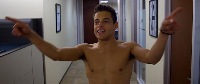Rami Malek's shirtless body as seen in the movie Need for Speed (2014)