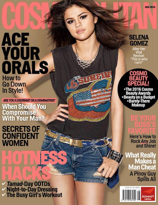 Selena Gomez posing for Cosmopolitan Philippines' August 2016 Issue