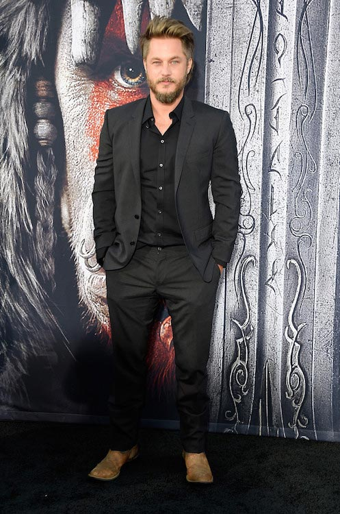 "Travis Fimmel during the premiere of the movie ""Warcraft"" on June 6, 2016 in Hollywood"