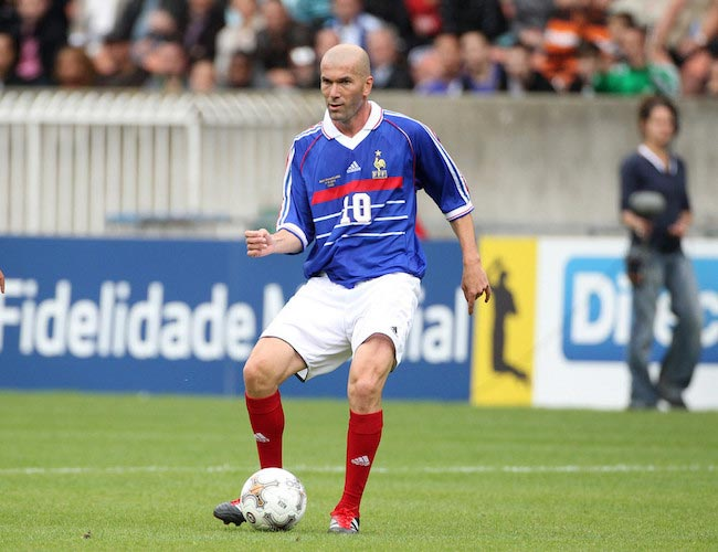 Zinedine Zidane in action during the Bernard Lama jubilee match in Paris June 11, 2011
