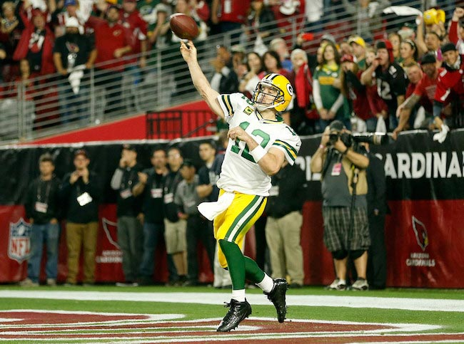 Aaron Rodgers pass The Arizona Cardinals and the Green Bay Packers January 16, 2016