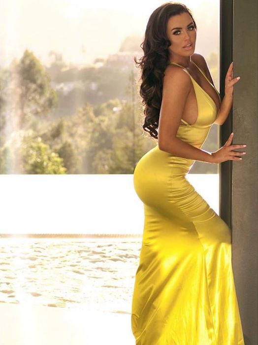 Abigail Ratchford in a yellow dress