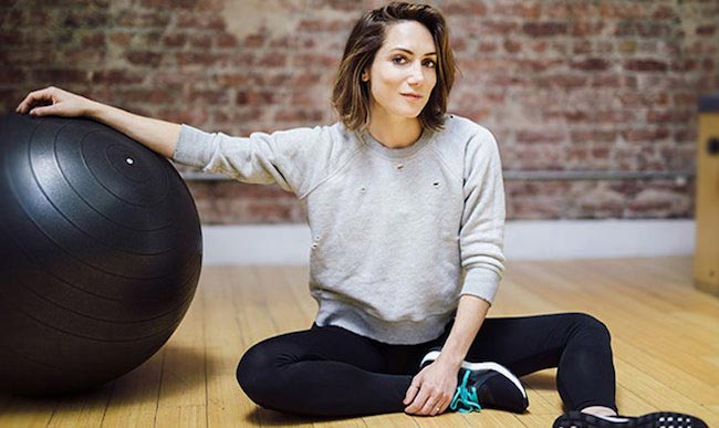Amy Rosoff Davis in the fitness studio with exercise ball