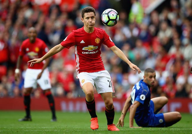 Ander Herrera with the ball during a match between Manchester United and Leicester City on September 24, 2016