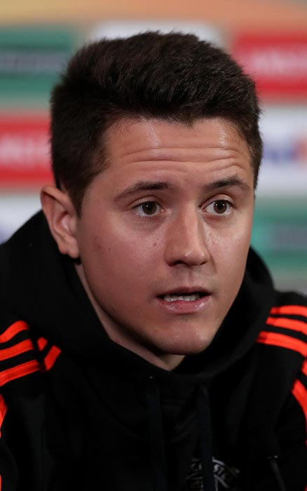 Ander Herrera during a press conference prior to a match between Manchester United and Liverpool on March 16, 2016