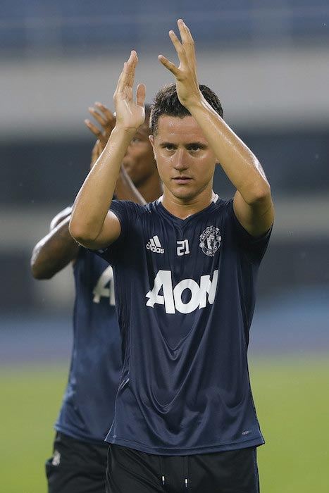 Ander Herrera cheering with the fans during training session before the match between Manchester City and Manchester United on July 24, 2016 in Beijing, China