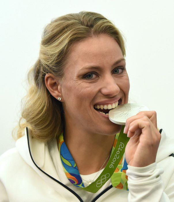 Angelique Kerber with her silver medal at the 2016 Olympic Games in Brazil
