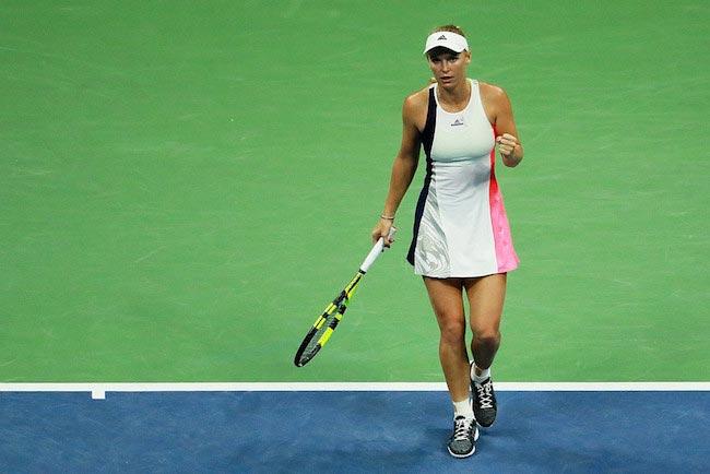 Caroline Wozniacki's reaction after winning a point against Anastasija Sevastova during Day Nine of the 2016 US Open Tour