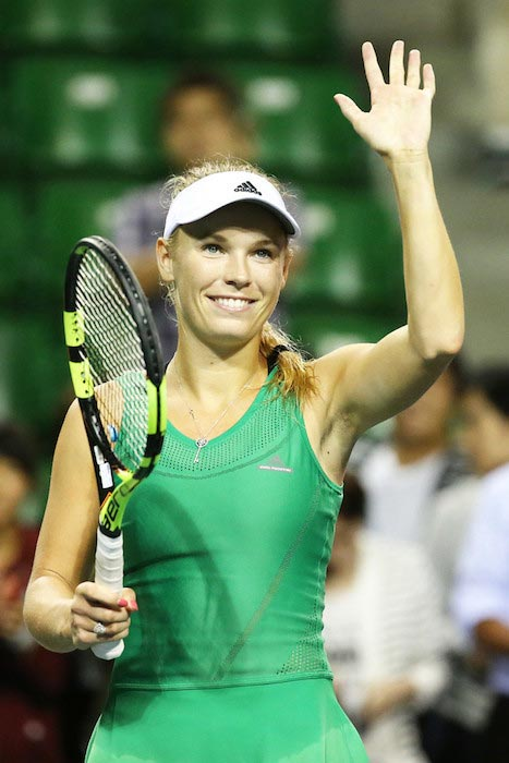 Caroline Wozniacki after she won a match against Belinda Bencic at Toray Pan Pacific Open on September 20, 2016 in Tokyo