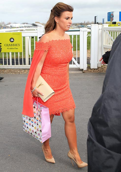 Coleen Rooney at Grand National Horse Racing Festival in Aintree Racecourse in Britain on April 7, 2016