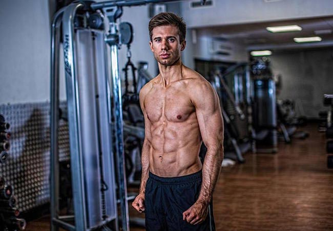 David Kingsbury showing his body in the gym