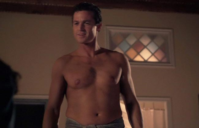 Eric Close shirtless in a scene from the TV mini series Seven Deadly Sins