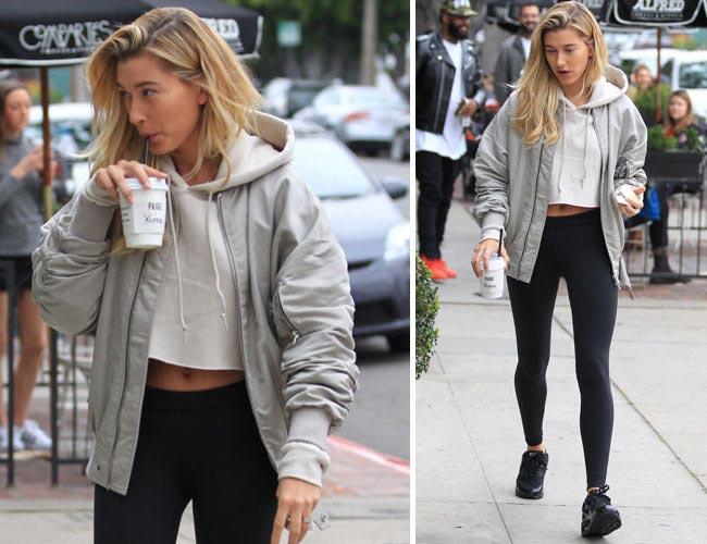 Hailey Baldwin drinking coffee