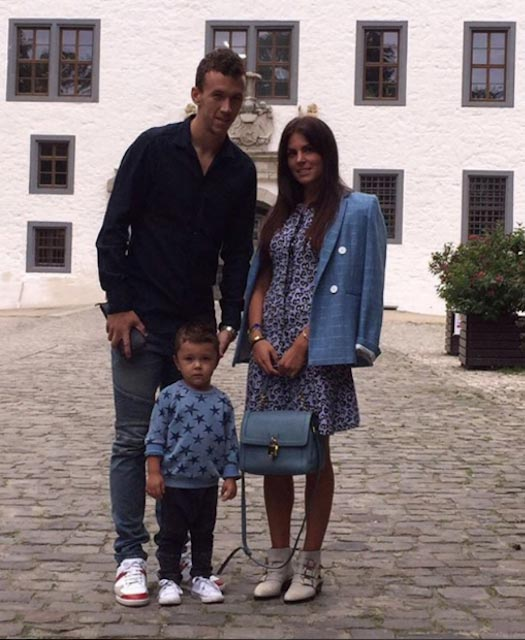 Ivan Perisic with Josipa Perisic and their child