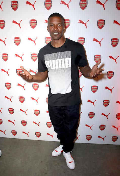 Jamie Foxx at PUMA and Arsenal FC 2016/17 AFC Away & Third Kit reveal event on July 29, 2016