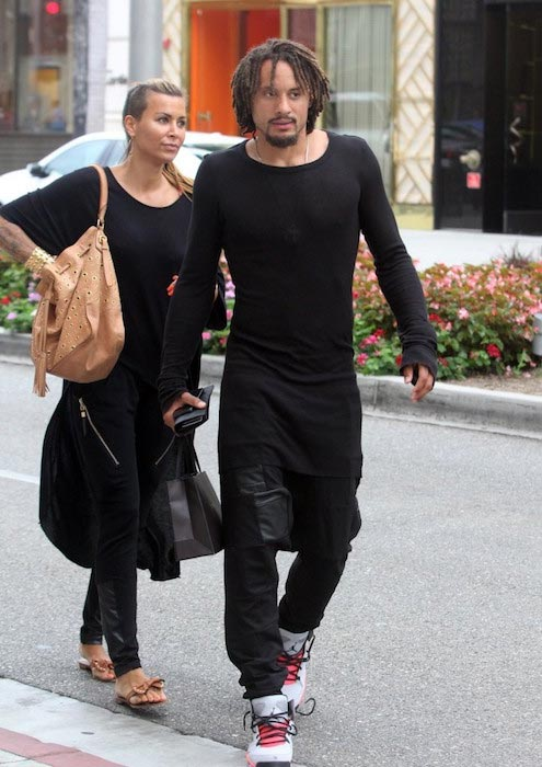 Jermaine Jones and his wife Sarah Gerth on July 14, 2014 in Beverly Hills, California