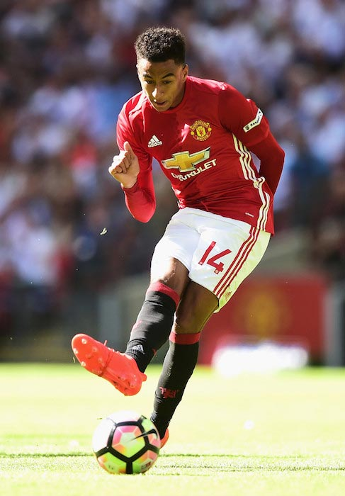 Jesse Lingard in action during The FA Community Shield match against Leicester City on August 7, 2016