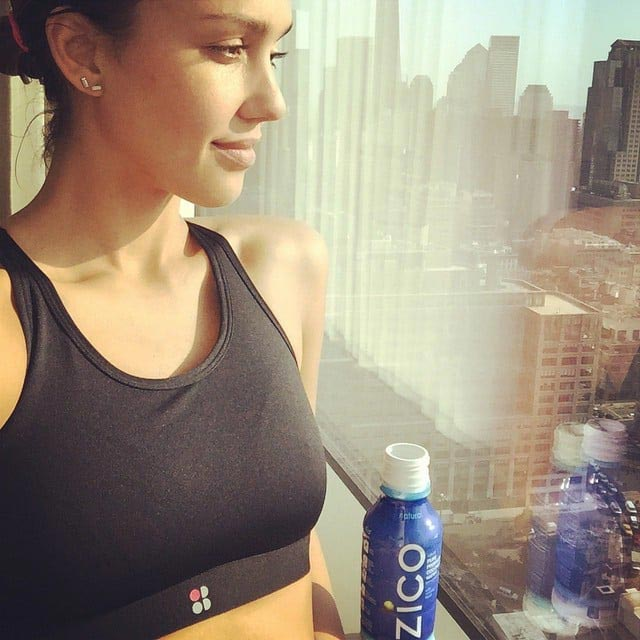 Jessica Alba stays hydrated with Zico Coconut water after workout