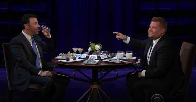 Jimmy Kimmel and James Corden having dinner chat