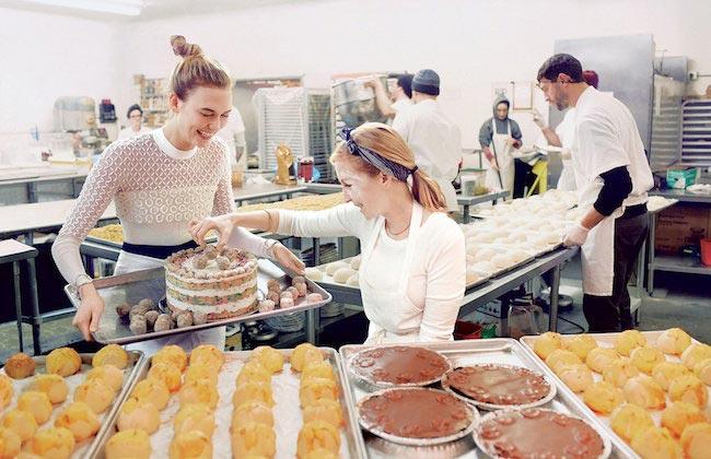 Karlie Kloss baking cake