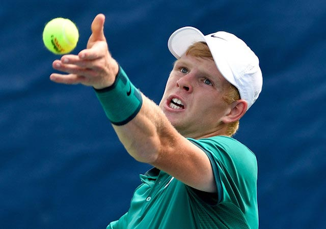 Kyle Edmund serves during Winston-Salem Open on August 22, 2016 in Winston Salem, North Carolina