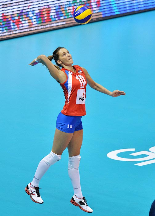 Maja Ognjenovic in action during day five of the FIVB World Grand Prix Sapporo 2013
