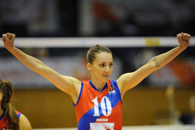 Maja Ognjenovic during a match between Serbia and Argentina at the FIVB Women's Volleyball World Cup Japan 2015