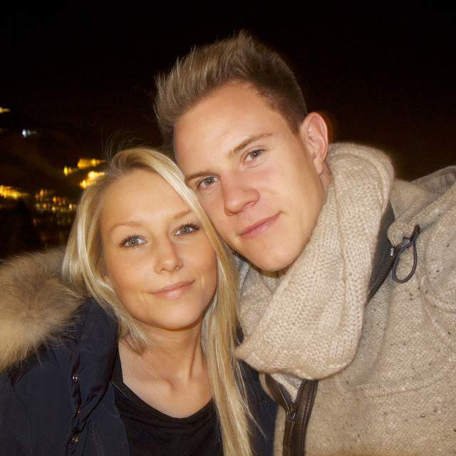 Marc-Andre Ter Stegen with Daniela Jehle in 2014 after Ter Stegen signed a deal with FC Barcelona