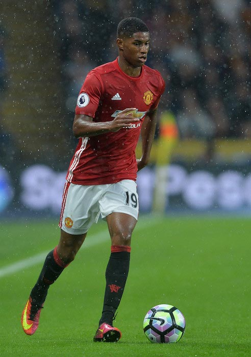 Marcus Rashford handling the ball during a Premier League match between Manchester United and Hull City on August 27, 2016