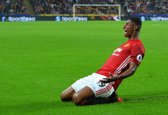 Marcus Rashford shows excitement after a goal during a Premier League match between Manchester United and Hull City on August 27, 2016