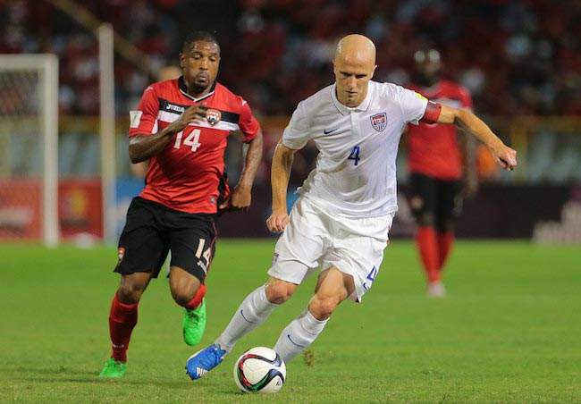 Michael Bradley in action versus Trinidad and Tobago during the 2018 FIFA World Cup Qualifier on November 17, 2015 in Port of Spain, Trinidad & Tobago
