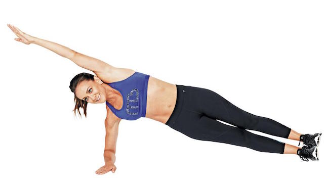"Michelle Bridges demonstrating ""Side Plank"" exercise"