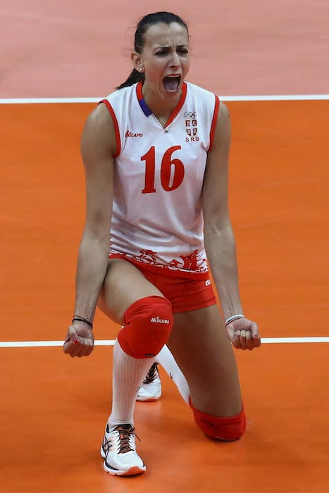 Milena Rasic gets fired up during a match between Serbia and United States at the 2016 Rio Olympic Games