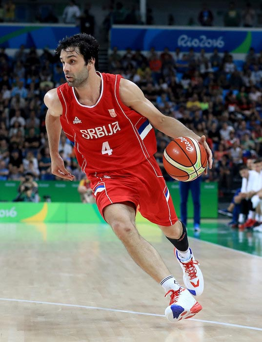 Milos Teodosic in action during a match of 2016 Olympics in Rio, Brazil against Croatia on August 17, 2016