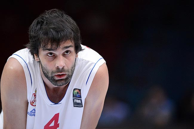 Milos Teodosic during a match for his country Serbia