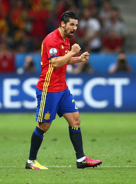 Nolito shows excitement after Spain's second goal against Turkey during the UEFA Euro 2016 in Nice, France
