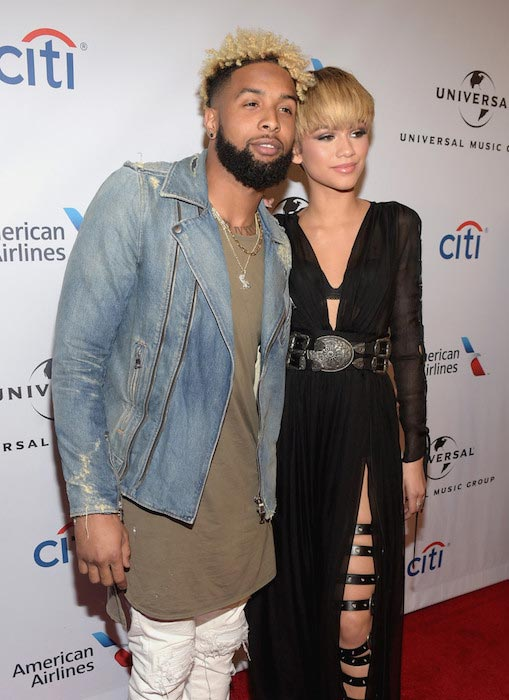 Odell Beckham Jr. and Zendaya at the Universal Music Group 2016 Grammy After Party