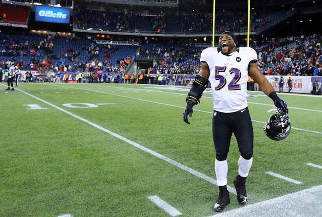 Ray Lewis during a match against New England Patriots in the 2013 AFC Championship match