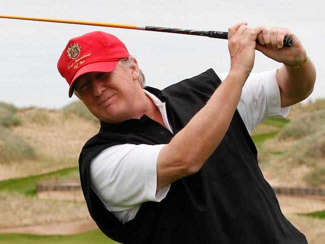 Republican Presidential candidate Donald Trump playing golf