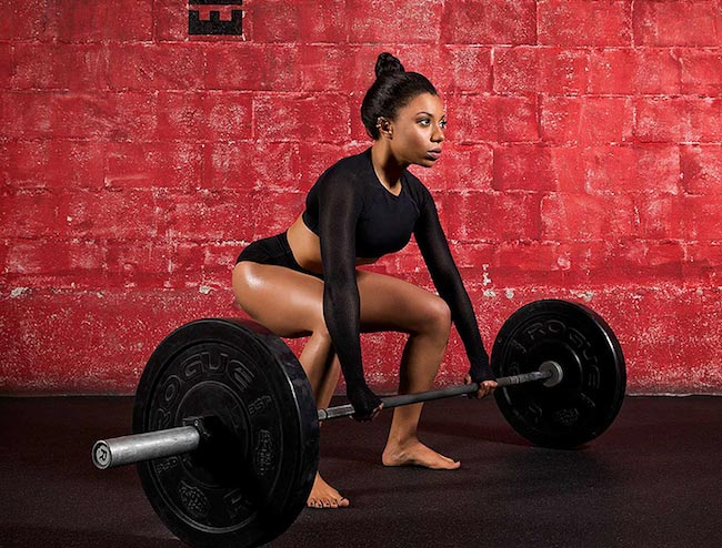 Shalita Grant doing deadlifts for her back