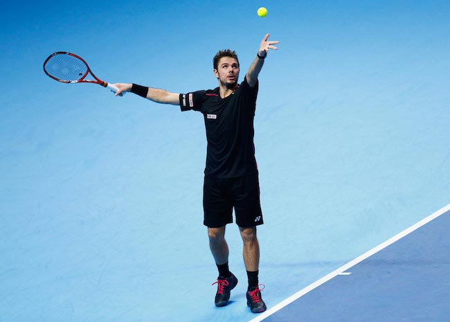 Stan Wawrinka during a match against Rafael Nadal on November 16, 2015 in London