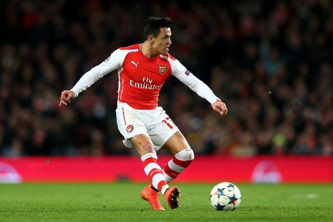 Alexis Sanchez Arsenal Monaco UEFA Champions League round of 16 February 2015