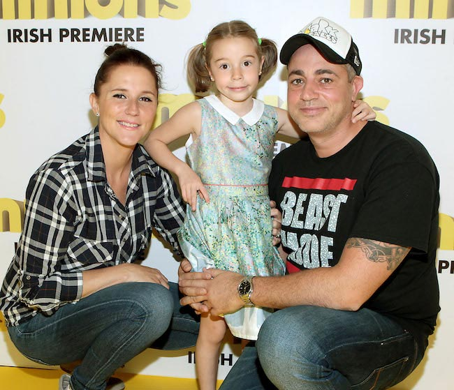 "Baz Ashmawy with Tanja and daughter Hannah at Irish premiere of ""Minions"""